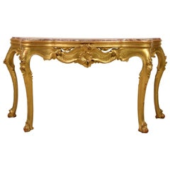 19th Century, Venetian Carved Giltwood Console Table