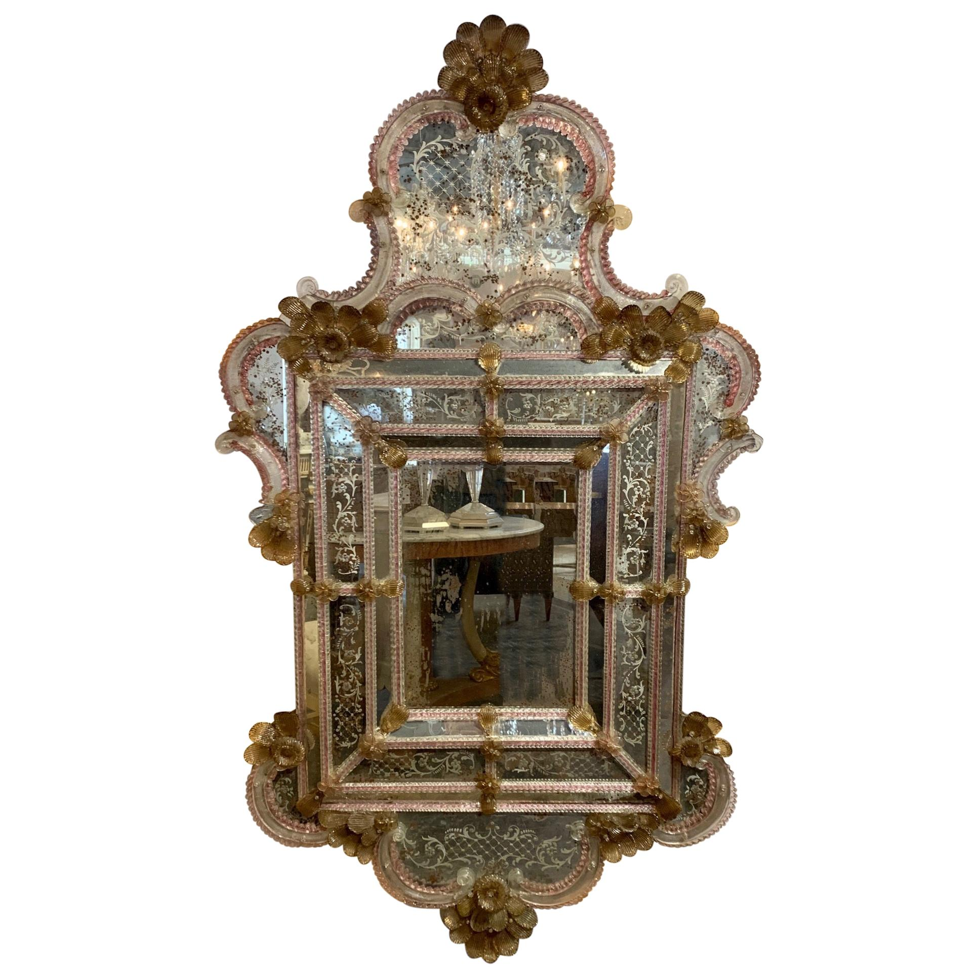 19th Century Venetian Etched Glass Mirror