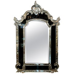 19th Century Venetian Etched Mirror with Black Glass