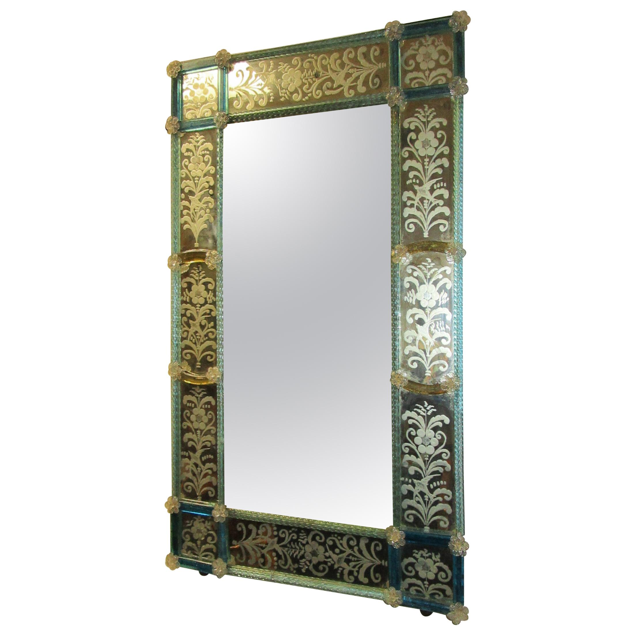 19th Century Venetian Etched Mirror with Blue Glass