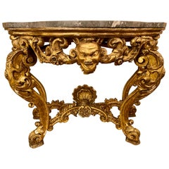 19th Century Venetian Gilt Gold Console Table, Serpentine, Ornately Carved