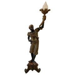 19th Century Venetian Hand Carved Torchiere Floor Lamp