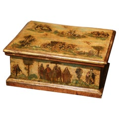 19th Century Venetian Hand Painted Collage Carved Box