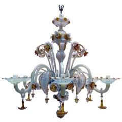 19th Century Venetian Murano Chandelier Opalescent Glass Six-Armed Pendant