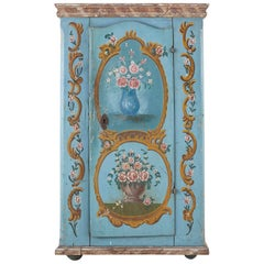 19th Century Venetian Painted Armoire Wardrobe or Linen Press