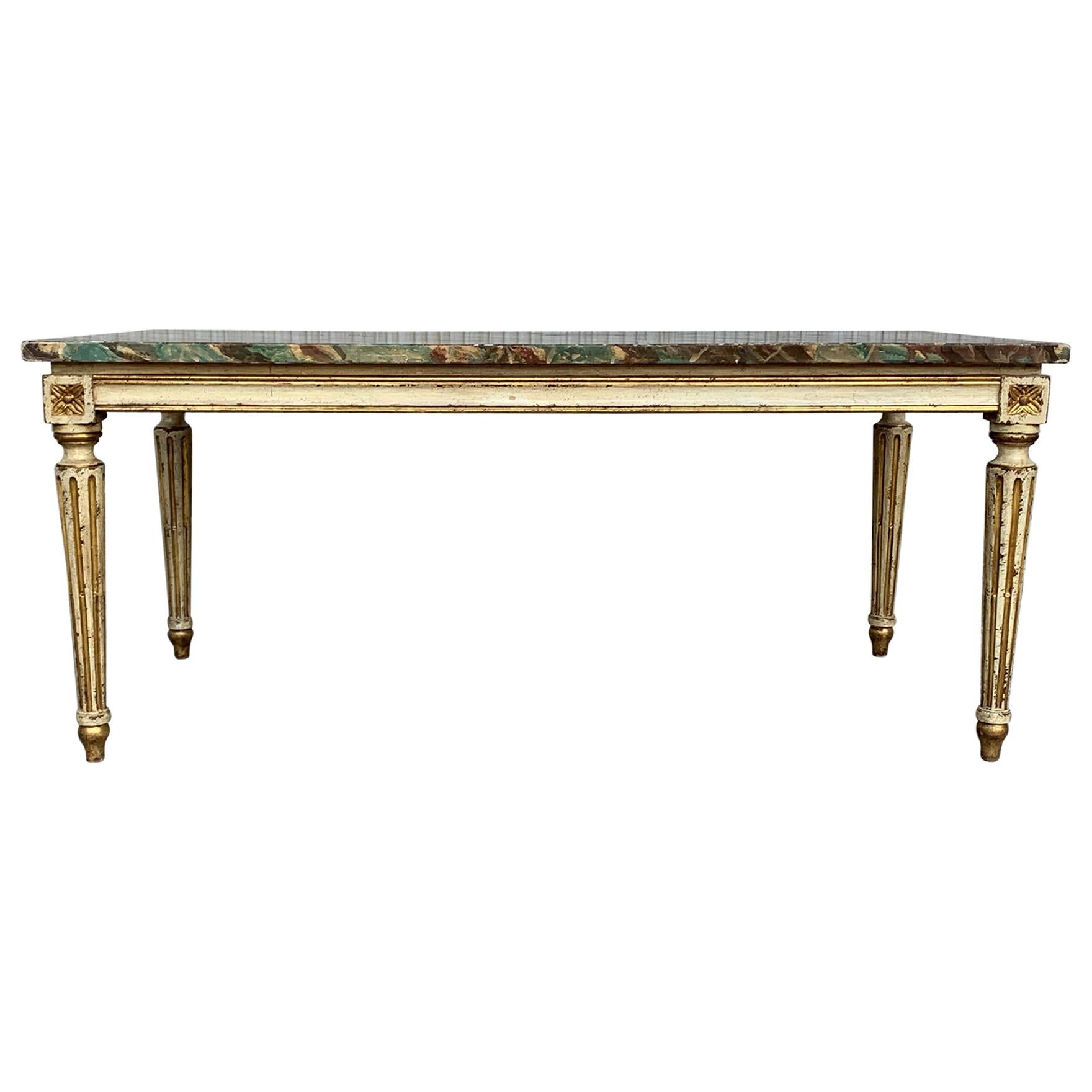 19th Century Venetian Parcel-Gilt Coffee Table with Faux Marble Top