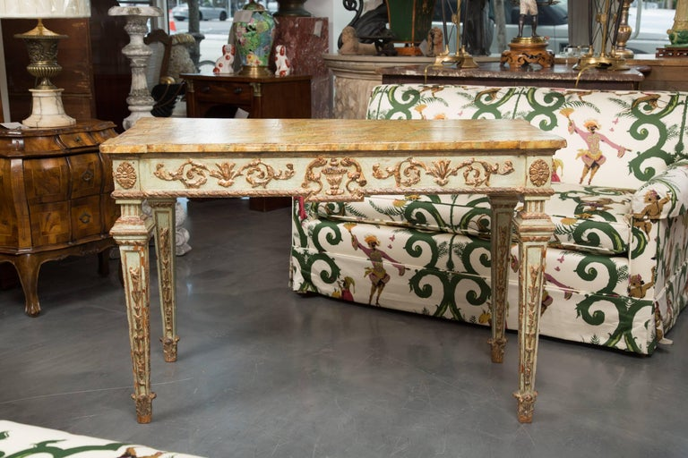 19th Century Venetian Parcel-Gilt Console with Faux Marble Top 3