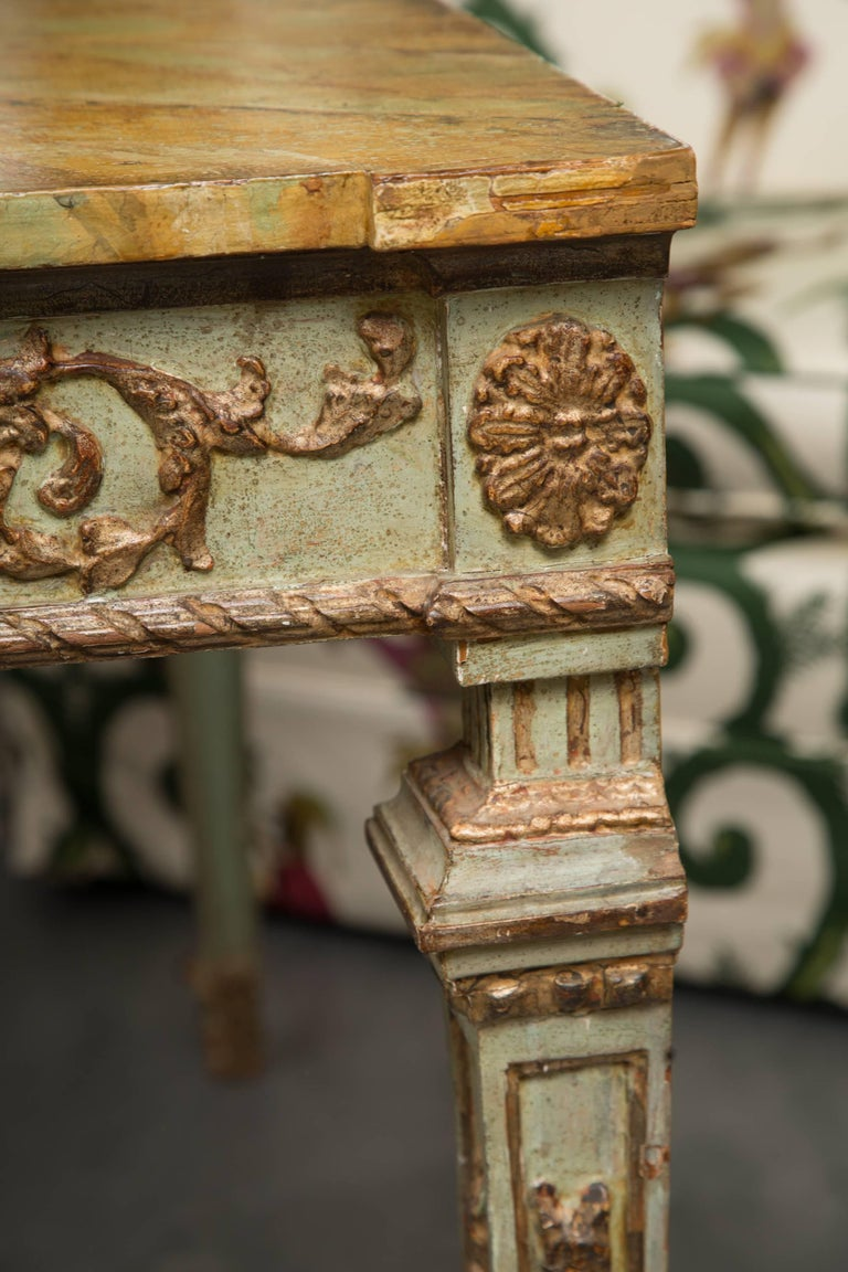 Other 19th Century Venetian Parcel-Gilt Console with Faux Marble Top