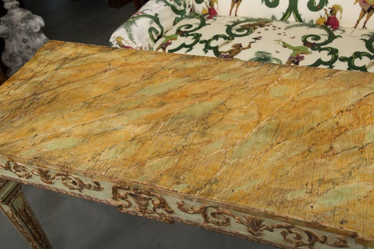 Hand-Painted 19th Century Venetian Parcel-Gilt Console with Faux Marble Top For Sale