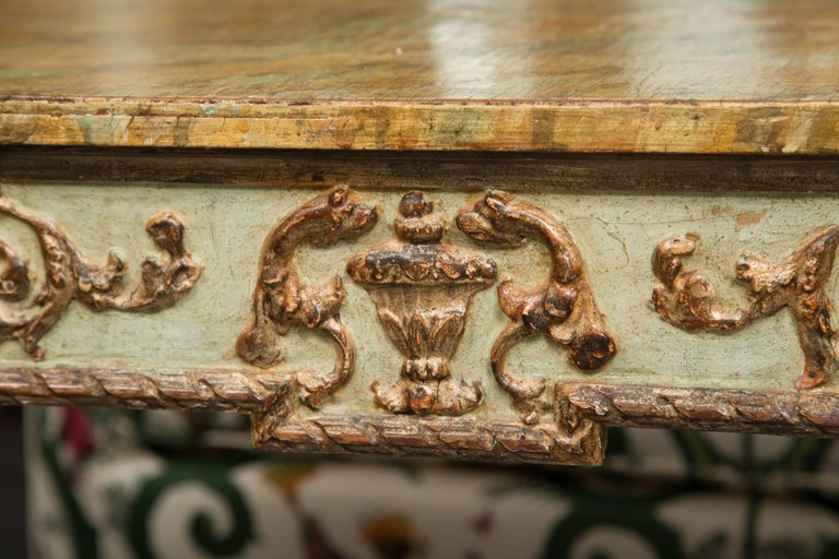 19th Century Venetian Parcel-Gilt Console with Faux Marble Top In Good Condition For Sale In WEST PALM BEACH, FL