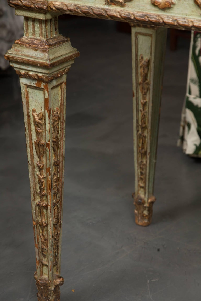 Wood 19th Century Venetian Parcel-Gilt Console with Faux Marble Top