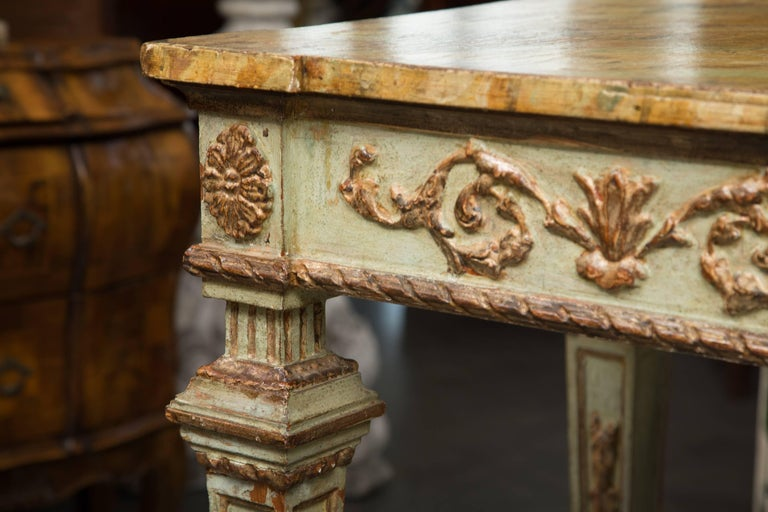 19th Century Venetian Parcel-Gilt Console with Faux Marble Top 2