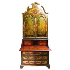 19th Century Venetian Secretary Bookcase with Painted Scenes and Floral Sprays