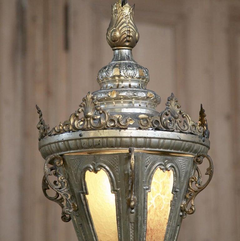 Baroque 19th Century Venetian Silvered Brass Lantern Chandelier For Sale