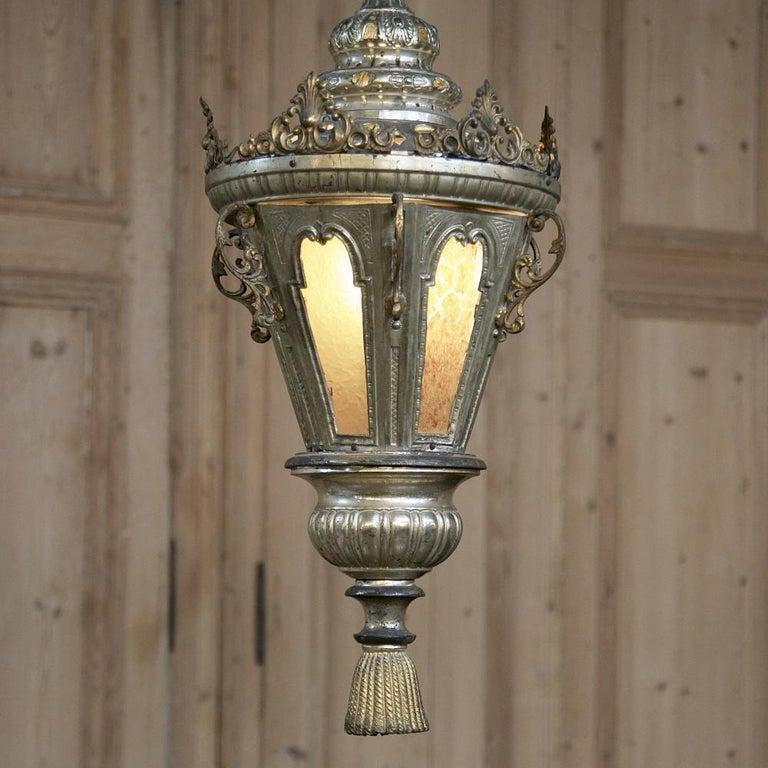 Italian 19th Century Venetian Silvered Brass Lantern Chandelier For Sale