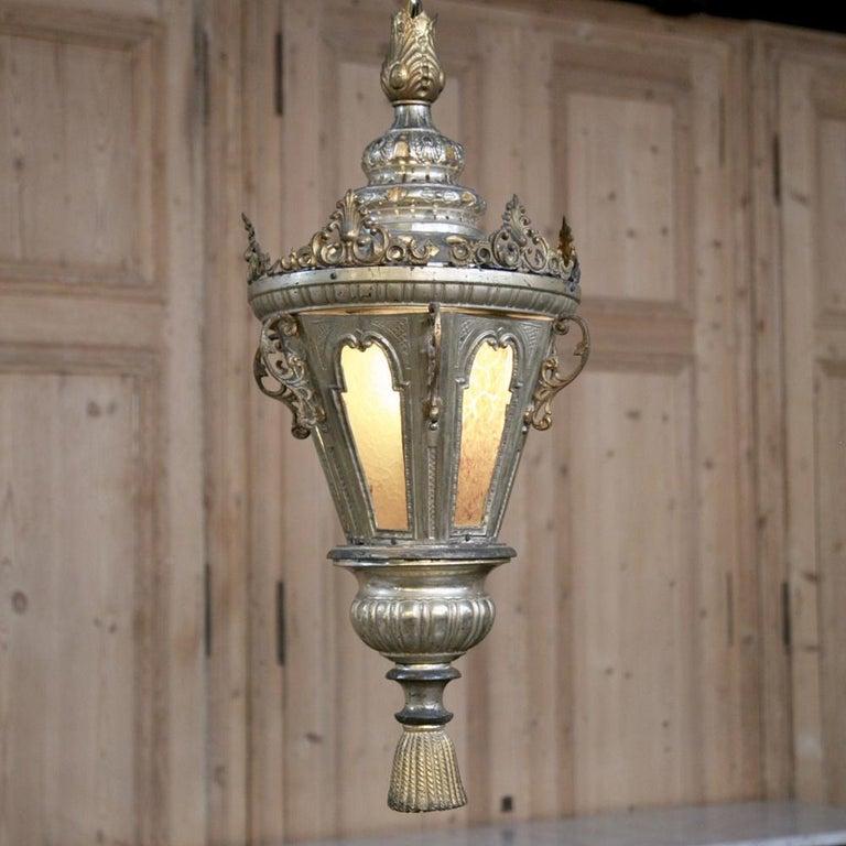 19th Century Venetian Silvered Brass Lantern Chandelier In Good Condition For Sale In Dallas, TX