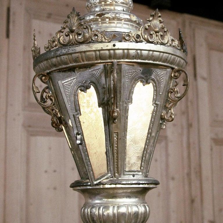 19th Century Venetian Silvered Brass Lantern Chandelier For Sale 1