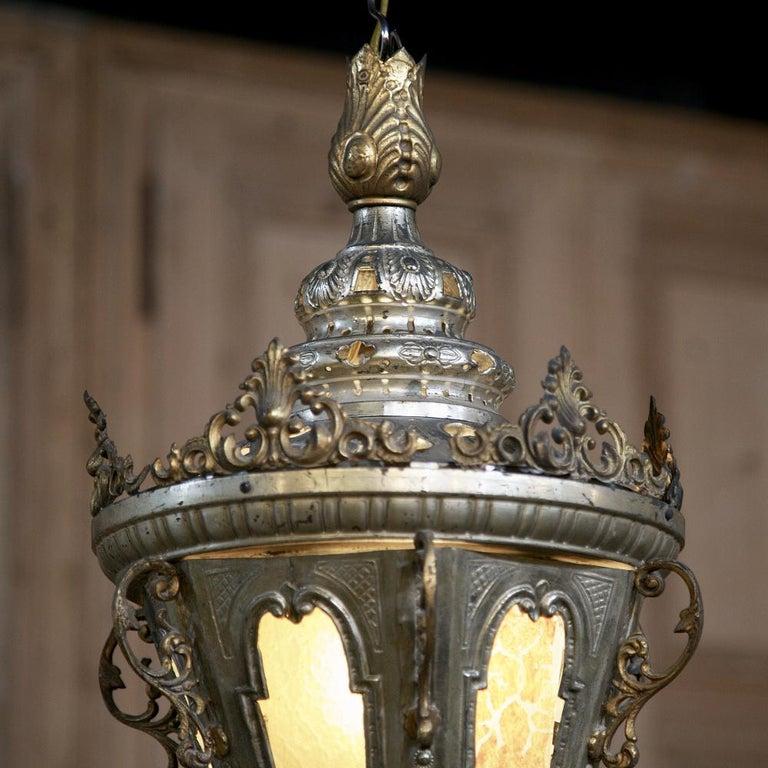 19th Century Venetian Silvered Brass Lantern Chandelier For Sale 2