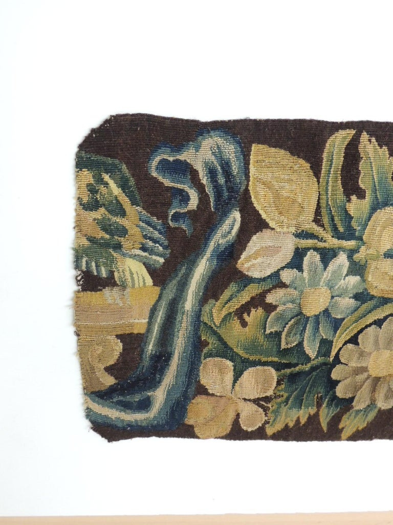 19th century Verdure Green and Gold Tapestry Fragment.