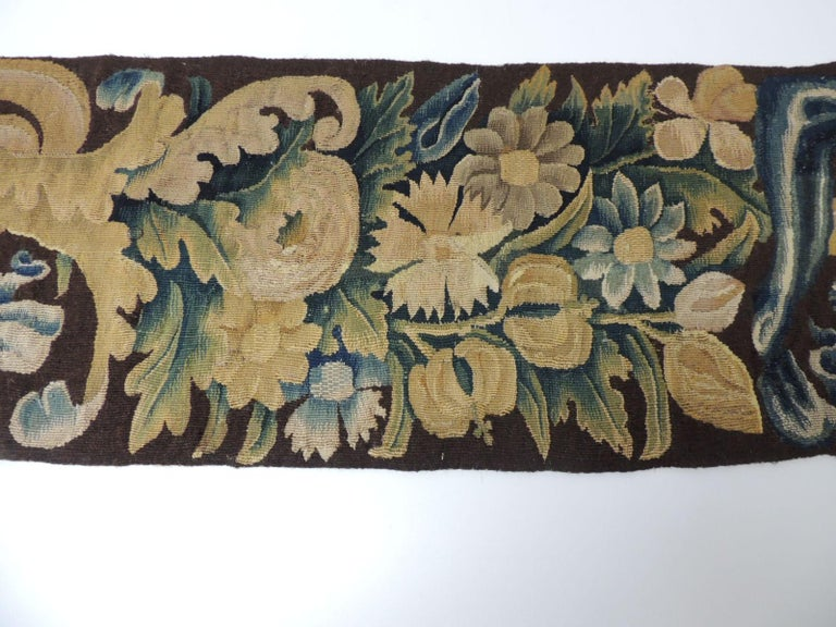 Regency 19th century Verdure Green and Gold Tapestry Fragment For Sale