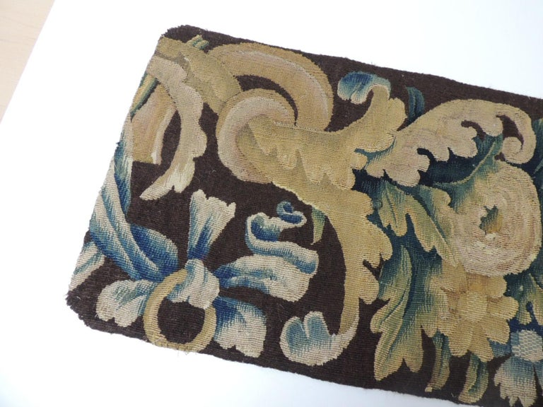 French 19th century Verdure Green and Gold Tapestry Fragment For Sale