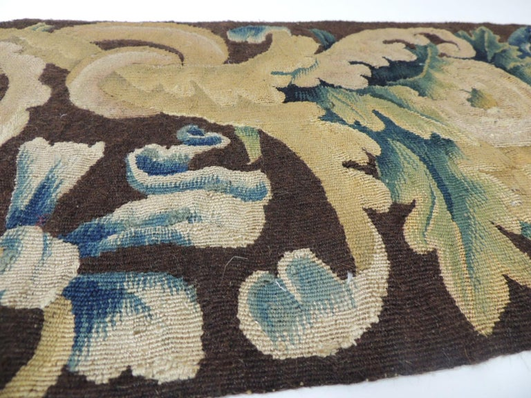 Hand-Crafted 19th century Verdure Green and Gold Tapestry Fragment For Sale