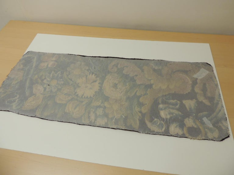 19th century Verdure Green and Gold Tapestry Fragment In Good Condition For Sale In Oakland Park, FL