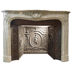 19th Century Vert d'Estours Marble Fireplace with Complete Cast Iron Hearth