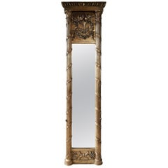19th Century Very High, Narrow Penant Giltwood Mirror in Empire Style