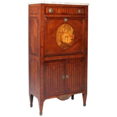 19th Century Very Small Secretary in Louis XVI Style with Marquetry, France 1890