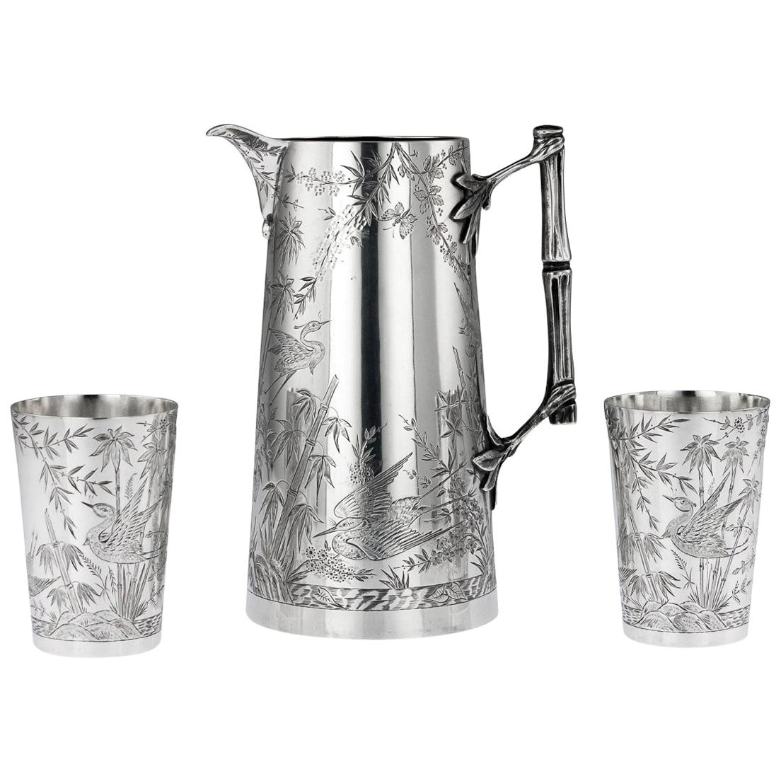 19th Century Victorian Aesthetic Movement Silver Jug and Beakers, circa 1883