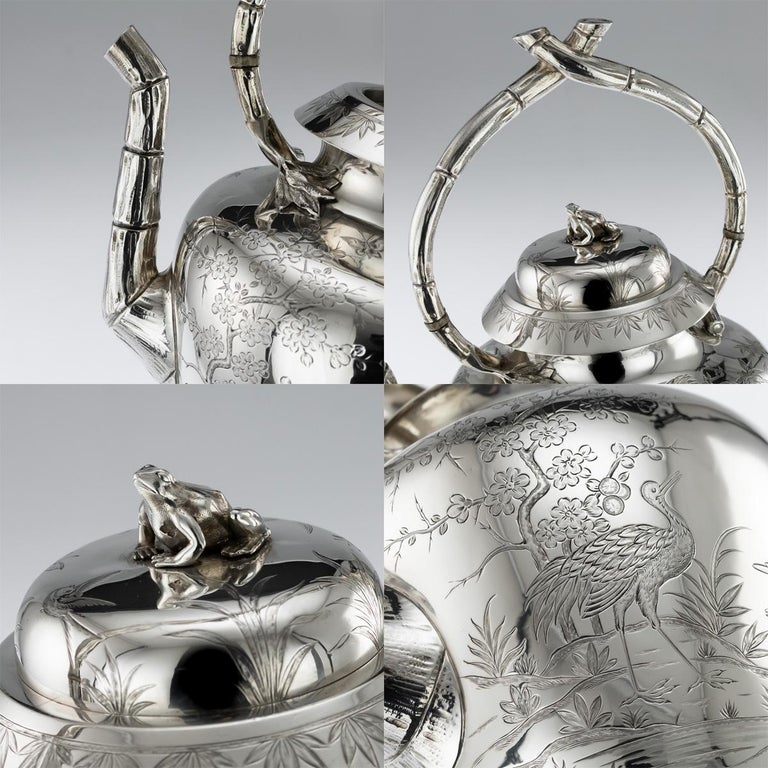 19th Century Victorian Aesthetic Movement Silver Tea Service, circa 1880 For Sale 6