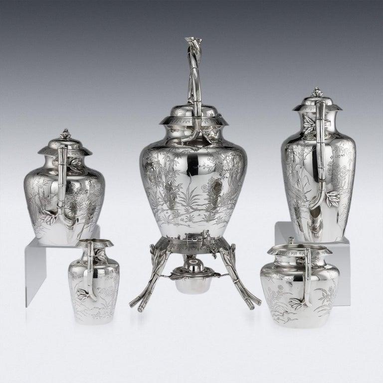 English 19th Century Victorian Aesthetic Movement Silver Tea Service, circa 1880 For Sale