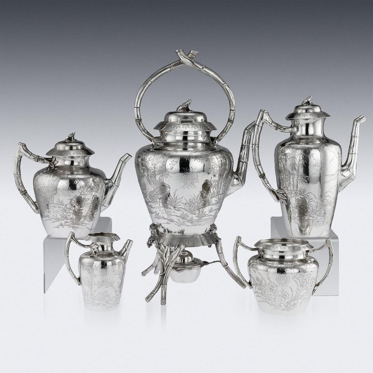 19th Century Victorian Aesthetic Movement Silver Tea Service, circa 1880 In Good Condition For Sale In Royal Tunbridge Wells, Kent