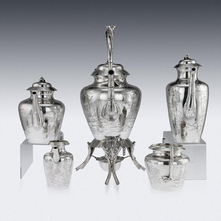 Sterling Silver 19th Century Victorian Aesthetic Movement Silver Tea Service, circa 1880 For Sale