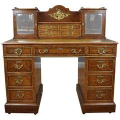 19th Century Victorian Amboyna Inlaid Pedestal Desk