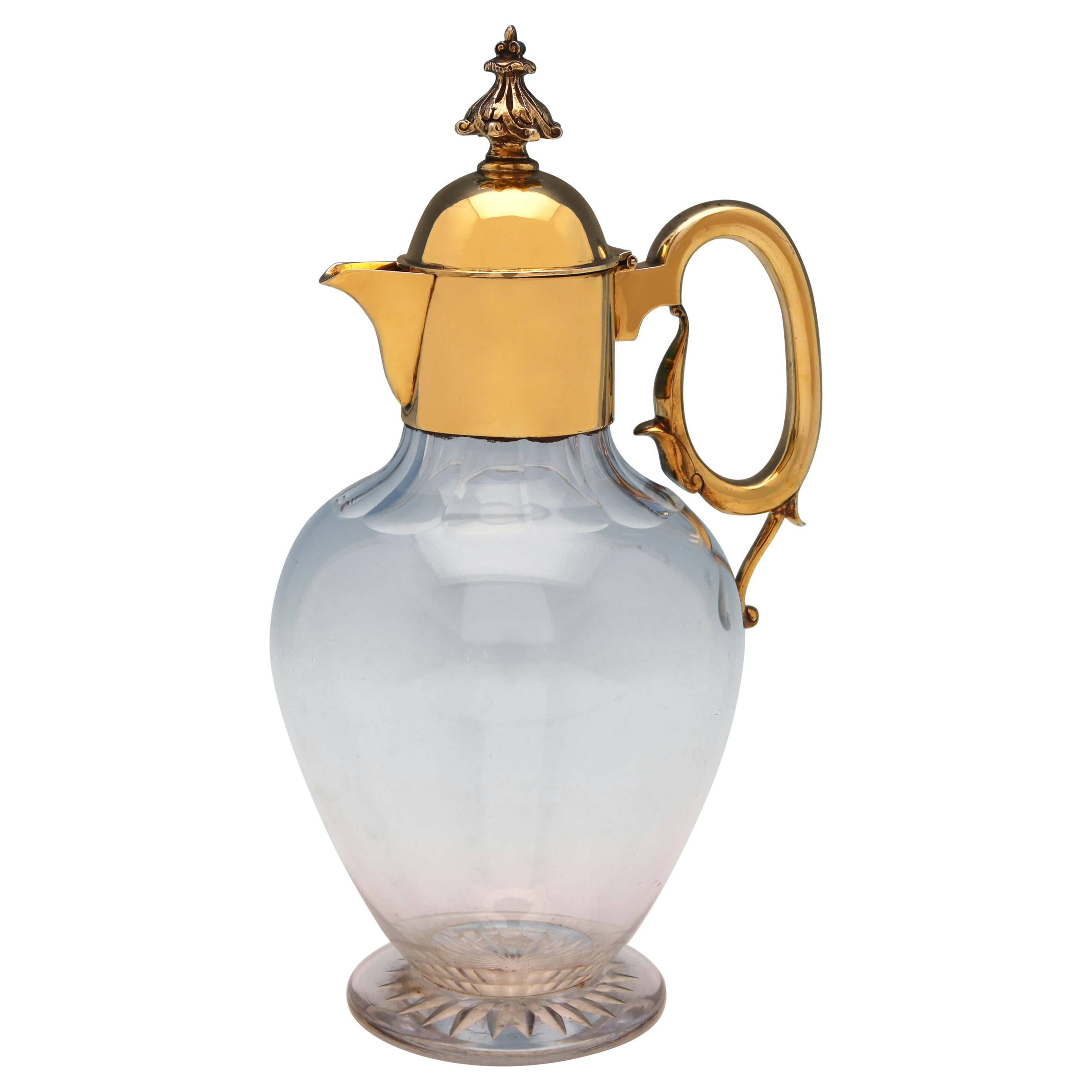 19th Century Victorian Antique Gilt Sterling Silver Claret Jug from 1898