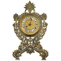 19th Century Victorian Antique Ornate Brass Desk Clock