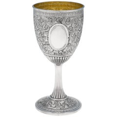 19th Century Victorian Antique Sterling Silver Goblet from 1881