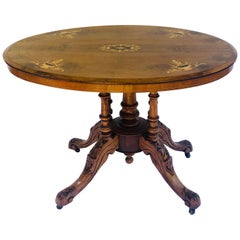 19th Century Victorian Antique Walnut Inlaid Oval Centre Table