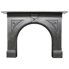 19th Century Victorian Arched Cast Iron Fireplace Surround