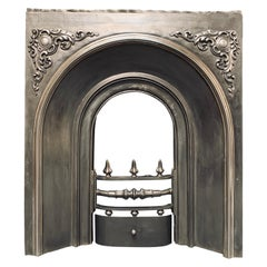 19th Century Victorian Arched Scottish Cast Iron Fireplace Insert