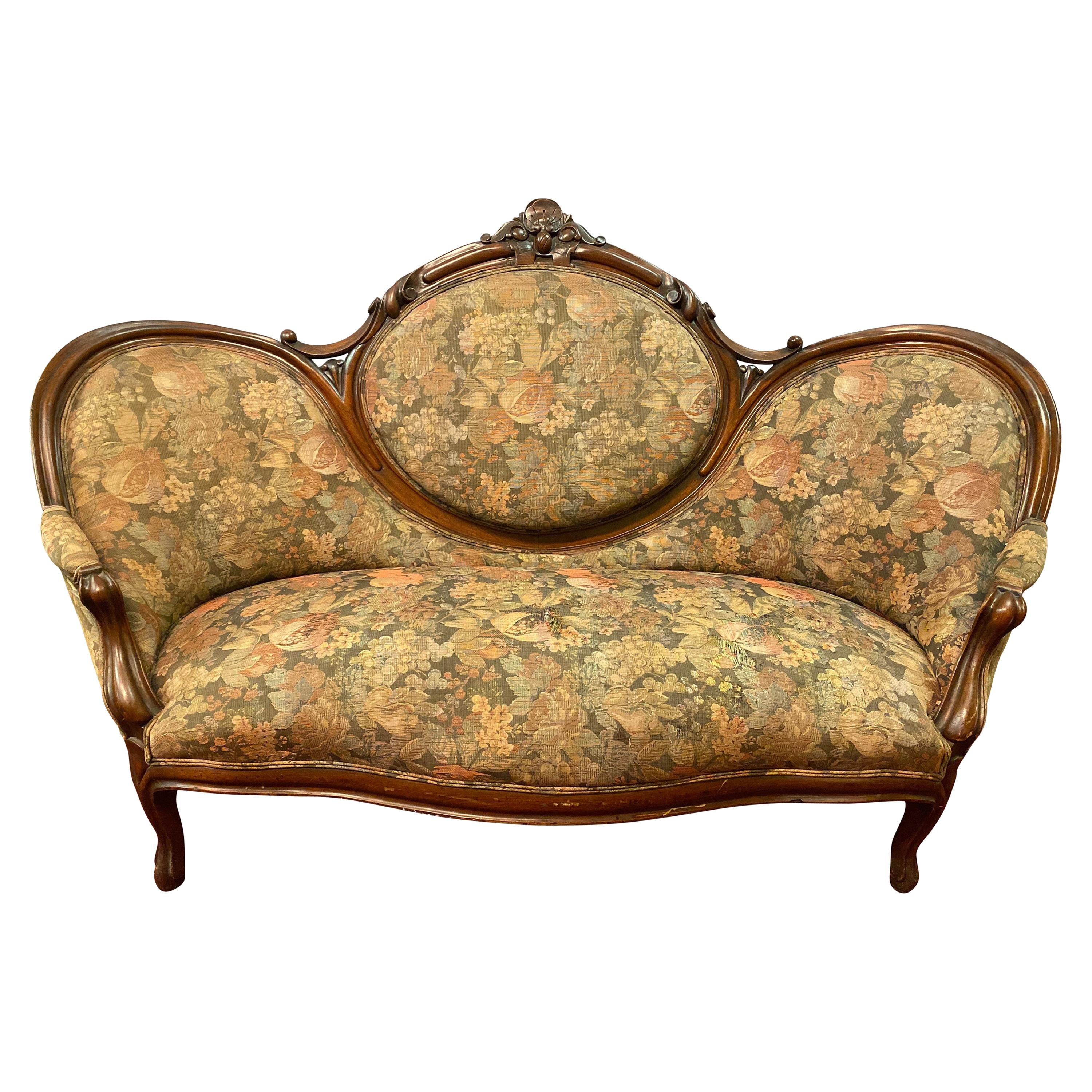 19th Century Victorian Belter Style Canopy or Love Seat, Sofa