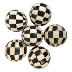 19th Century Victorian Black and White Bone and Horn Geometric Carpet Balls