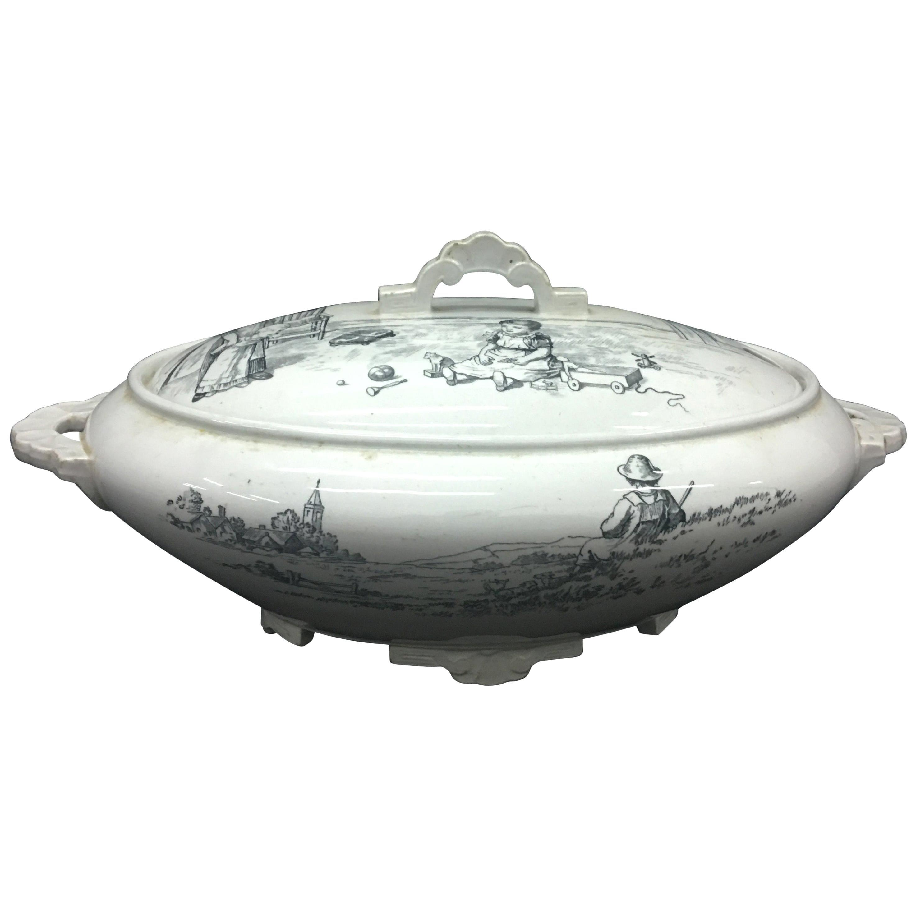 19th Century Victorian Black and White Ceramic British Soup Tureen