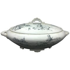 19th Century Victorian Black and White Ceramic British Soup Tureen