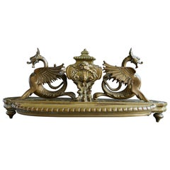 19th Century Victorian Brass Inkwell with Winged Dragons and Integrated Pen Tray