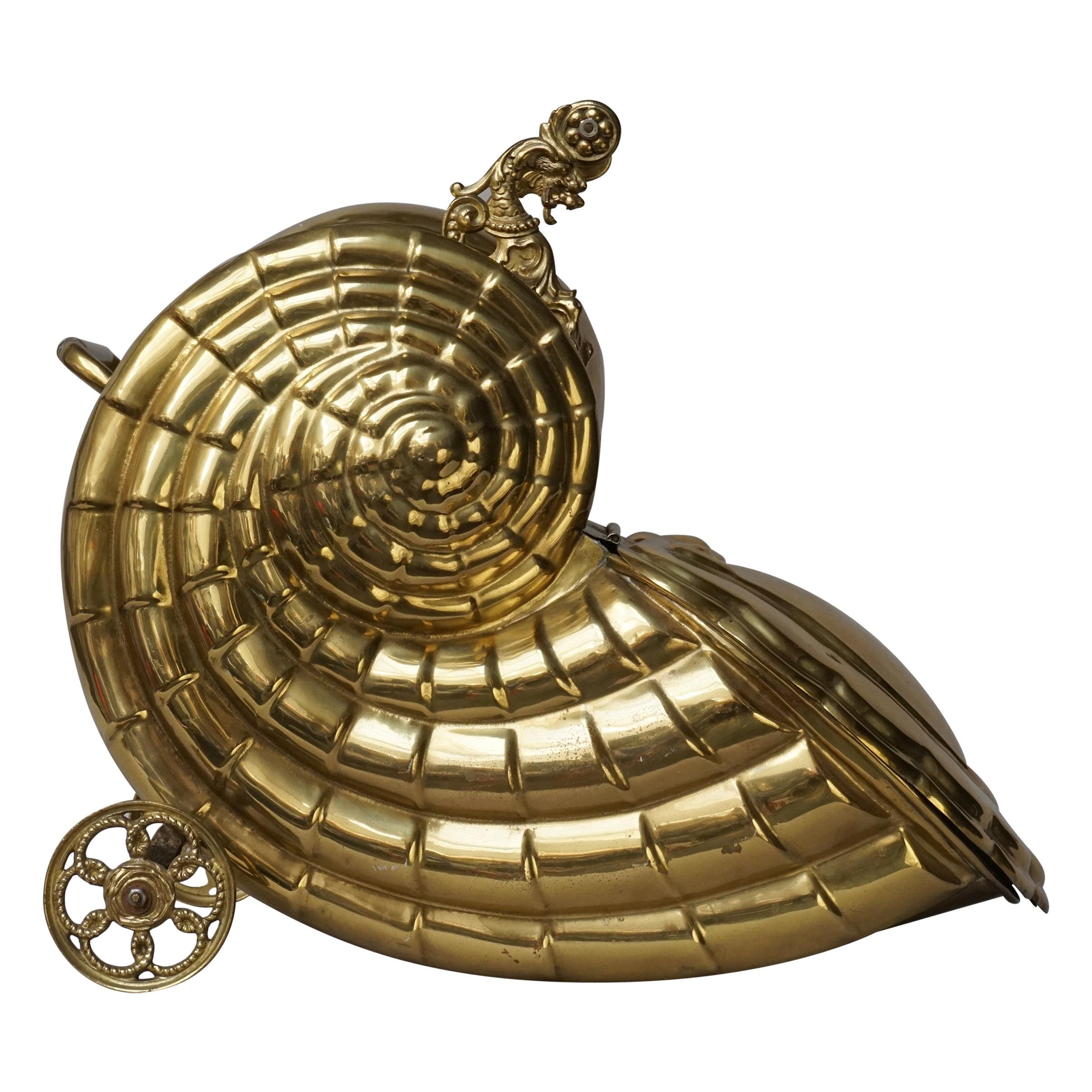 19th Century Victorian Brass Nautilus Shell Shaped Coal Scuttle or Purdonium