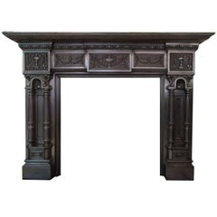 19th Century Victorian Burnished Cast Iron Fireplace Mantelpiece