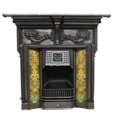 19th Century Victorian Burnished Tiled Cast Iron Fireplace Combination